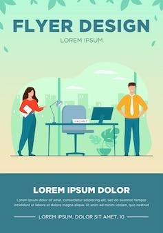 Новые сотрудники, требующие в офисе для работы, изолировали плоскую векторную иллюстрацию. мультфильм hr-менеджер по найму или найму персонала. набор, вакансии и бизнес-концепция