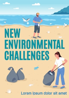 New environmental challenges poster flat template