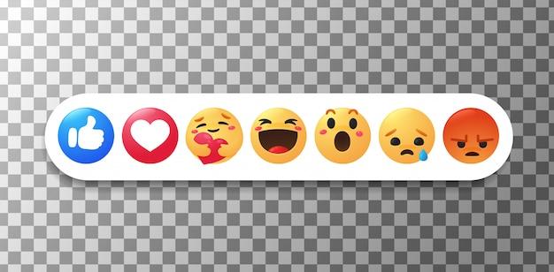 Новый facebook emoji большой палец и лицо, которые показывают эмоции, обнимая с осторожностью.