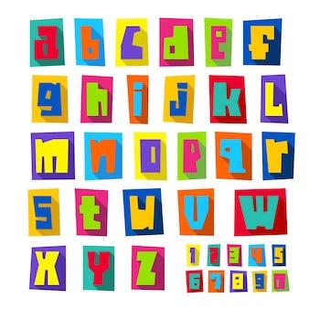 Новый шрифт, вырезанные красочные буквы на листах цветной бумаги с тенью, строчные буквы