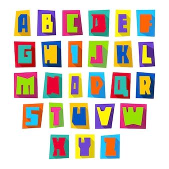 Новый шрифт, вырезанные разноцветные буквы в верхнем регистре