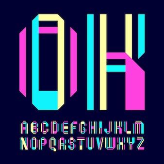 Новый шрифт, сложенный из двух бумажных лент. модный алфавит, цветные векторные буквы на темном фоне.