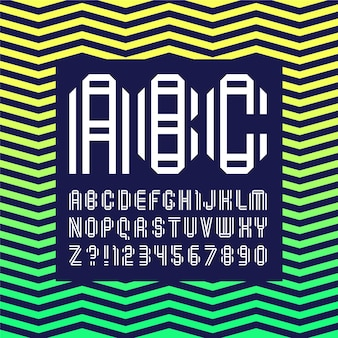 Новый шрифт, сложенный из двух бумажных лент. модный алфавит, белые векторные буквы на темном фоне.
