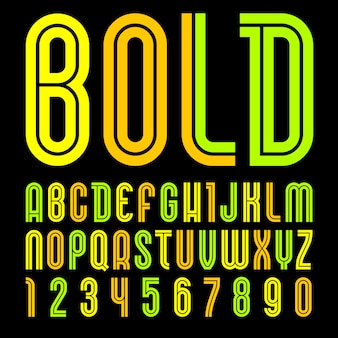 New font. trendy alphabet, colored  letters on a black background
