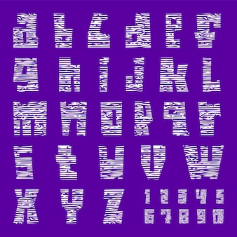 New font with cracks. trendy alphabet, white vector letters lowercase.