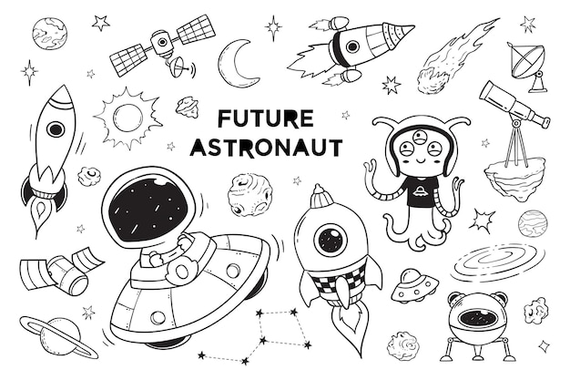 New galaxy and astronaut doodle