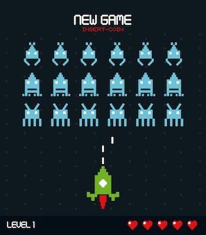 空間ゲームレベル1のグラフィックを備えた新しいゲーム挿入コイン