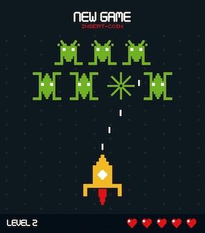 空間ゲームレベル2のグラフィックを備えた新しいゲーム挿入コイン