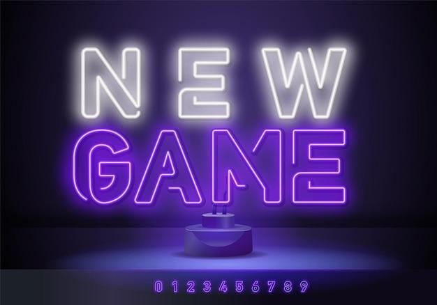 Новая игра неоновая вывеска, неоновый символ. новая игра неоновый текст, светлый баннер элемент дизайна красочная тенденция современного дизайна. векторная иллюстрация