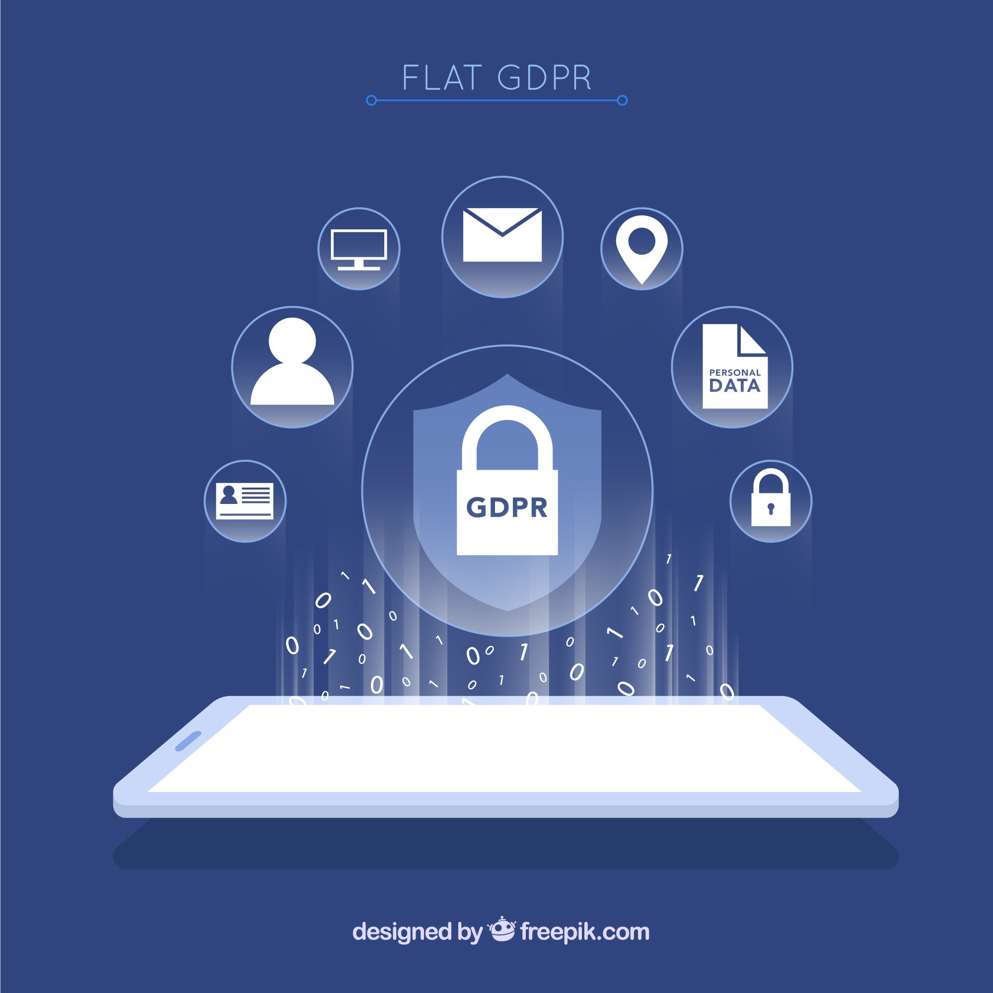 New gdpr concept with flat design