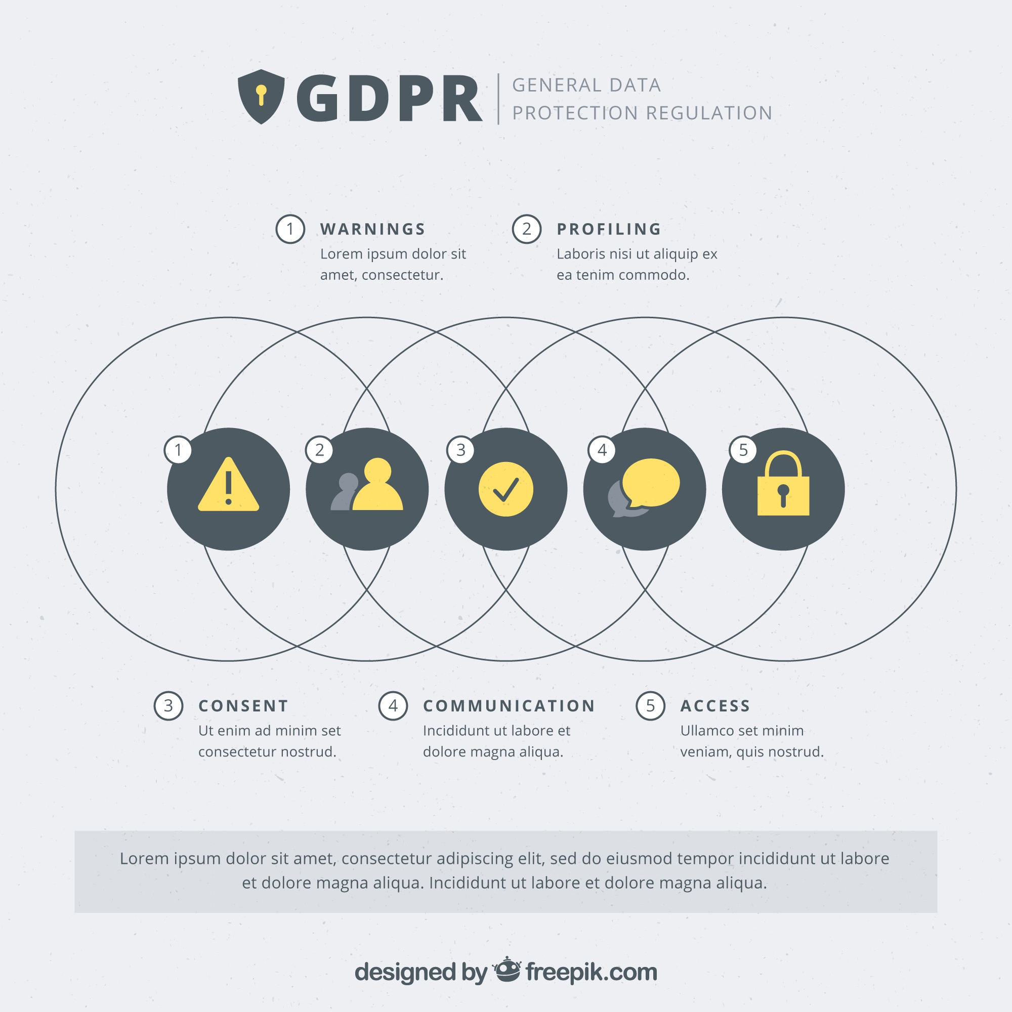 New gdpr concept with infographic design