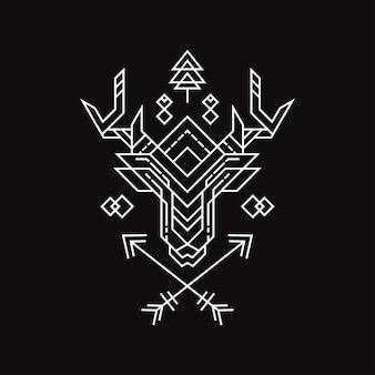 新しい幾何学鹿のイラスト