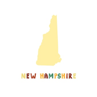 New hampshire map isolated. usa collection. map of new hampshire - yellow silhouette. doodling style lettering on white