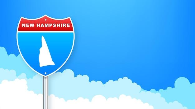 도 표지판에 뉴햄프셔 지도입니다. 뉴햄프셔 주에 오신 것을 환영합니다. 벡터 일러스트 레이 션.
