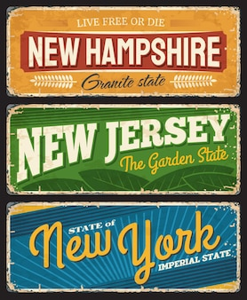 New hampshire, new jersey and new york american states sign for travel destination