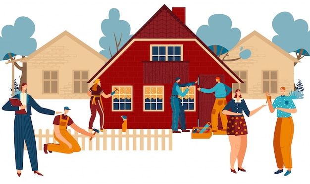 New home building and moving, real estate agent, happy couple with key and workers painting new cottage cartoon  illustration.