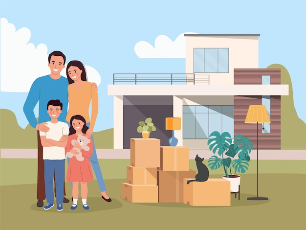New house for family. things in the boxes. moving house. vector illustration Premium Vector