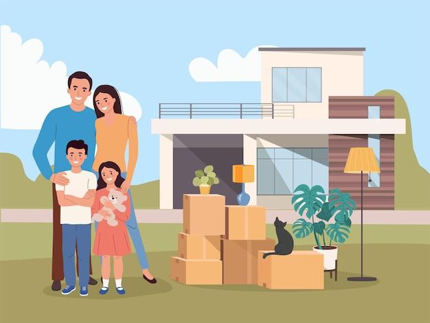 家族のための新しい家。箱の中のもの。引っ越しの家。ベクトルイラスト