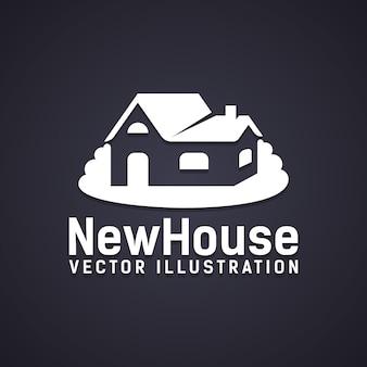 Значок «новый дом» с текстом ниже - векторная иллюстрация «новый дом», изображающая право собственности на покупку недвижимости или новое строительство.