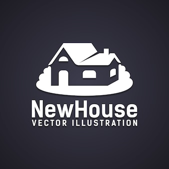 New house icon with text below - new house  vector illustration - depicting a property purchase  ownership or a new build construction