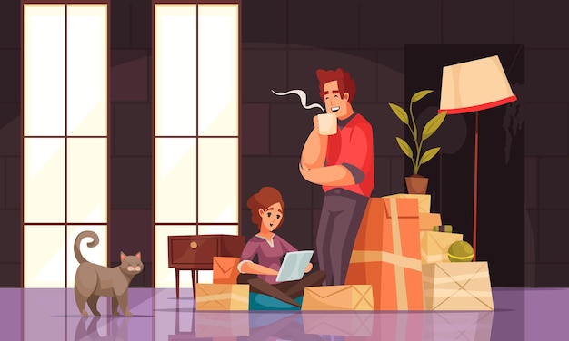 New house interior cartoon compositions young couple with cat packages boxes