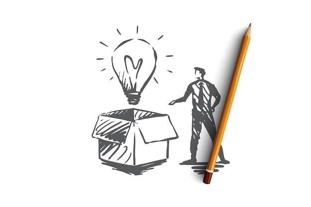 Новый, идея, коробка, лампочка, концепция творчества. ручной обращается лампочка сияет в эскизе концепции коробки. иллюстрация.