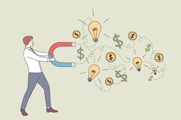 Концепция заработка денег успеха нового бизнеса