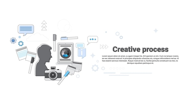 New idea inspiration creative process business web banner vector illustration