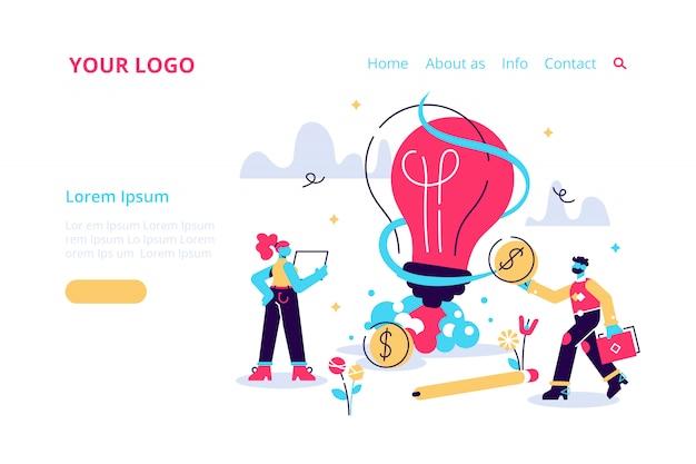 新しいアイデアやスタートアップのコンセプト、イラスト。電球の光るロケット打ち上げ。小さな人々は植物、アイデアを育て、人々のキャラクターは創造的なビジネスアイデア、イノベーションを開発します。