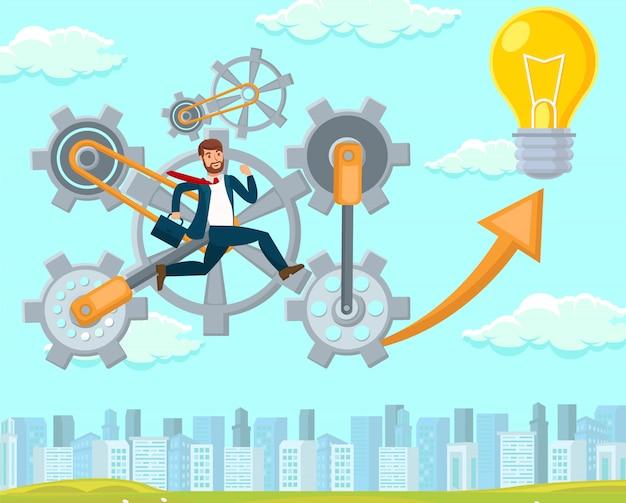 New idea in startup. vector flat illustration.
