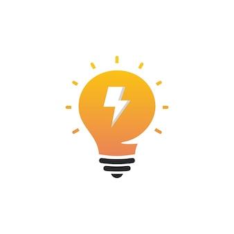 새로운 아이디어 기호, 평면 밝은 만화 전구입니다. 아이디어 아이콘, 원형 로고, 벡터 전구, 흰색과 주황색 로고의 양식화된 기호