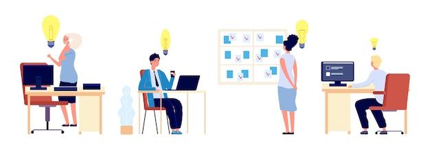 새로운 아이디어. 사업가들은 훌륭한 아이디어를 가지고 있습니다. 비즈니스 프로세스에 대한 평면 남성 여성 생각. 직장에서 벡터 사람 문자