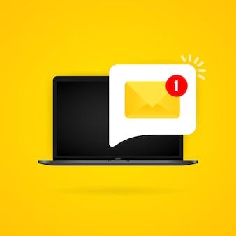 알림 노트북 그림이 있는 새로운 수신 메시지. 들어오는 메시지가 있는 봉투. 격리 된 배경에 벡터입니다. eps 10.