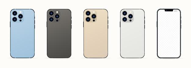 新しいiphone13 promax。シエラブルー、グラファイト、シルバー、ゴールドiphone promax。モックアップ画面のiphoneと裏面のiphone。ベクトルイラスト。ザポリージャ、ウクライナ-2021年9月16日