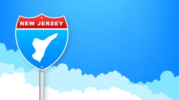 도 표지판에 뉴저지 지도입니다. 뉴저지 주에 오신 것을 환영합니다. 벡터 일러스트 레이 션.