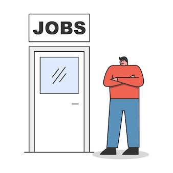 New job. man standing near door to new career or promotion