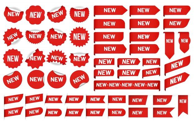 새로운 라벨 스티커. 최신 각도 태그, 판매 배너 배지 스티커 및 새로운 태그 벡터 세트