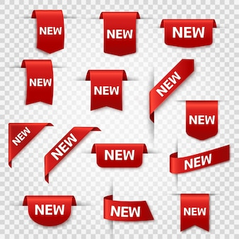 New labels newest product red banner ribbons price shopping tags