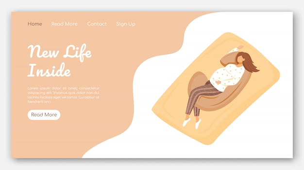 New life inside landing page vector template. maternity products website with flat illustrations. website design