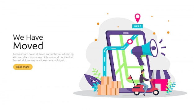 새로운 위치 발표 사업 또는 사무실 주소 개념을 변경합니다. 방문 페이지 템플릿, 모바일 앱, 포스터, 배너, 전단지, ui, 웹 및 배경에 대한 그림을 옮겼습니다.