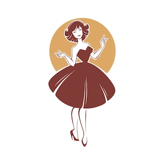 New look style girl,  retro lady for your logo, label, emblem
