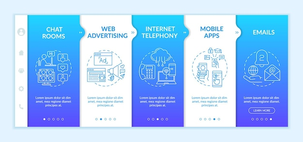 New media examples onboarding  template. web advertising. mobile apps. virtual room for chatting. responsive mobile website with icons. webpage walkthrough step screens.