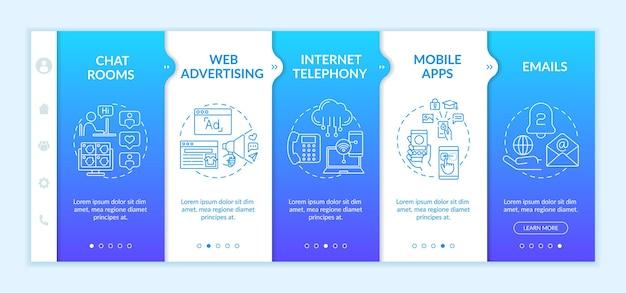 新しいメディアの例のオンボーディングテンプレート。 web広告。モバイルアプリ。チャット用の仮想ルーム。アイコン付きのレスポンシブモバイルウェブサイト。 webページのウォークスルーステップ画面。
