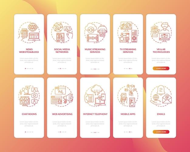 개념이 설정된 새로운 미디어 다양한 온 보딩 모바일 앱 페이지 화면. 음악 및 tv 스트림, vr, ar 기술 안내 5 단계 그래픽 지침. 컬러 삽화가있는 ui 템플릿