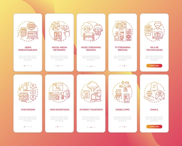 New media variety onboarding mobile app page screen with concepts set. music and tv stream, vr, ar technology walkthrough five steps graphic instructions. ui  template with color illustrations