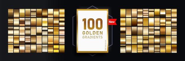 コレクション100ゴールドの光沢のある長方形で構成される新しいメガセットのグラデーション。