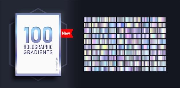 컬렉션 100 홀로그램 광택 사각형으로 구성된 최신 유행 그라디언트의 새로운 메가 세트