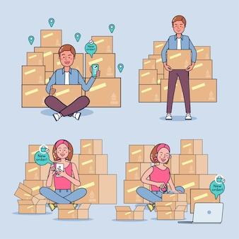 Nuovi commercianti hanno perso il lavoro a causa dell'economia tossica per vendere cose online. ci sono molti ordini da parte dei clienti. illustrazione piatta
