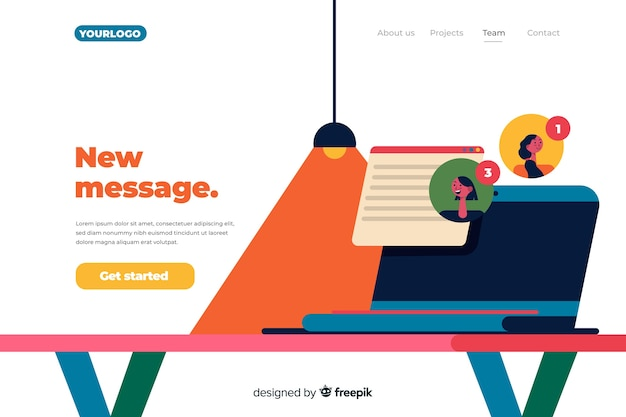 New message landing page concept