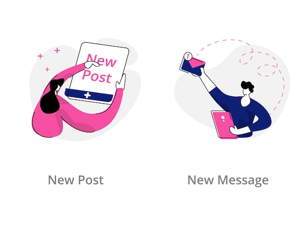 New message, new post illustration concept